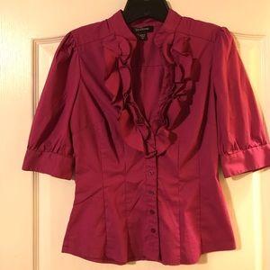 Fushia pick button up shirt w/ ruffle front size S
